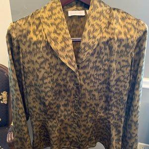 Dana Buchman 100% Silk Blouse, Animal print Size 8